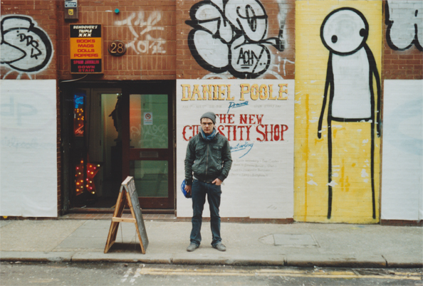 William in front of the Daniel Poole's New Curiosity Shop in Shoredtich. That's a super nice shop.