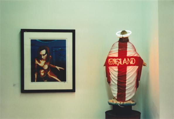 A great Marilyn Manson portrait seen @ Daniel Poole's New Curiosity Shop in Shoredtich.