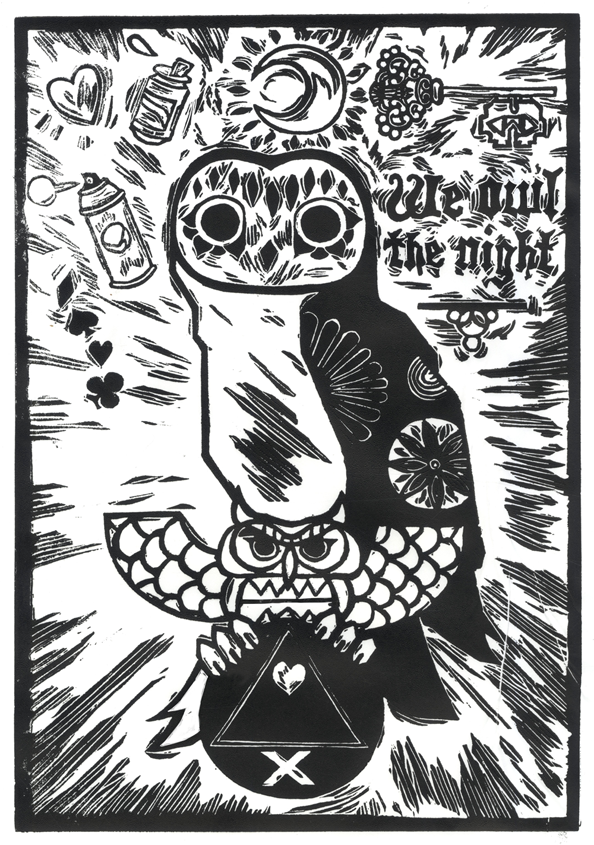 We owl the night (black and white)