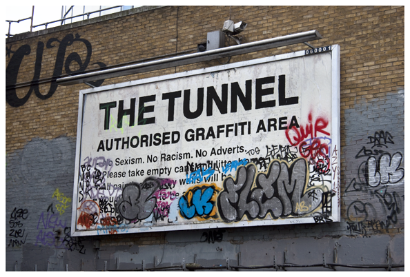 The Tunnel, legal site for bombing, underneath Waterloo station