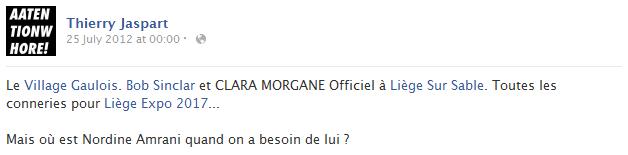 thierry-jaspart-facebook-status-screenshot-clara-morgane-bob-sinclar-liege-sur-sable-village-gaulois-belgique-nordine-amrani