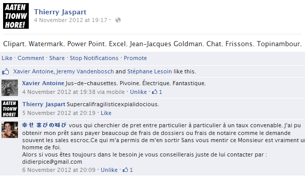 thierry-jaspart-facebook-status-screenshot-clipart-watermark-power-point-excel-jean-jacques-goldman-chat
