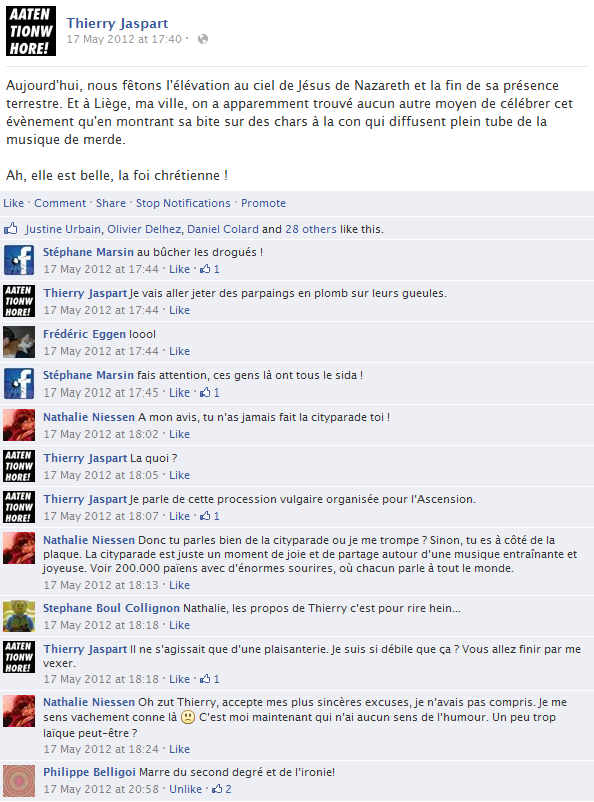 thierry-jaspart-facebook-status-screenshot-jesus-nazareth-ascension-city-parade-liege-belgique
