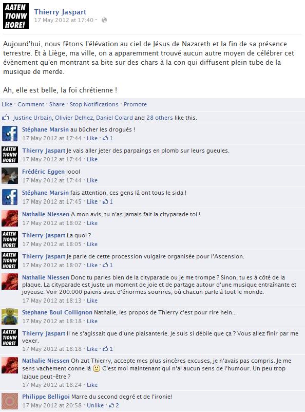 thierry-jaspart-facebook-status-screenshot-jesus-nazareth-ascension-city-parade-liege-belgique