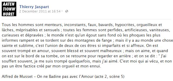 thierry-jaspart-facebook-status-screenshot-on-ne-badine-pas-avec-l-amour-alfred-de-musset