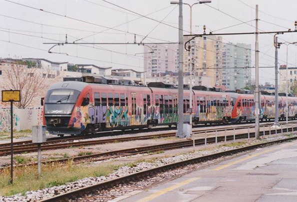 Train graffiti in Ljubljana, Slovenia