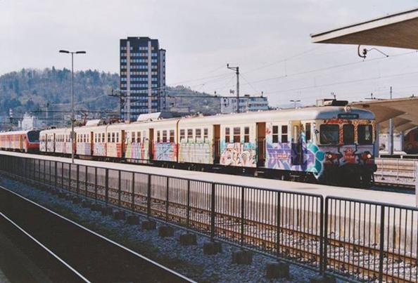 Train graffiti in Ljubljana, Slovenia